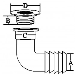 allpa RVS afvoeren 90¦ met rooster, afm. A=19mm, B=15mm, C=36mm, D=42mm