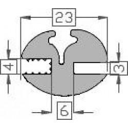 Raanrubber EPDM grijs 3-4 br 23 mm