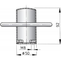 Rvs bolder, type 90B M8 boutmontage