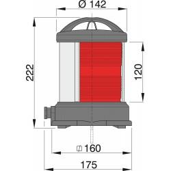 Bakboordlantaarn rood-voetmontage
