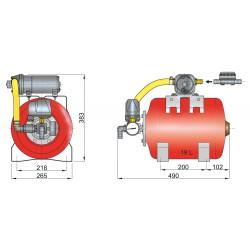 Hydrophoor 12V 19ltr tank incl drukschakelaar