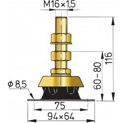 Vetus flexibele motor- steun type K25