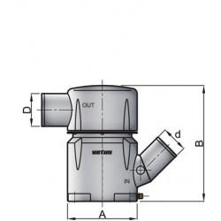 Kunststof waterlock MGP inlaat 102mm - uitlaat 127mm