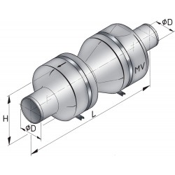 Vetus kunststof demper type mv 125 incl.bev.kit