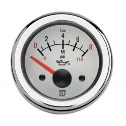 Oliedrukmeter 12V 0-8 kg-cm2 D52mm wit