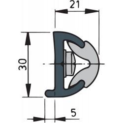 Mtr. stootlijst POLY30W wit (min. lengte 20 meter)