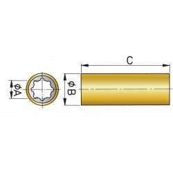 Rubberlager as 40mm bm= 55mm, l=160mm, kunststof