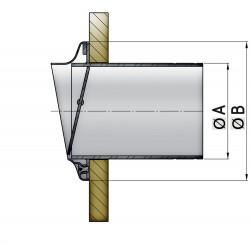 Uitlaatspiegeldoorvoer D 152mm rvs met klep