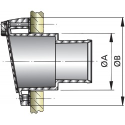 Uitlaatspiegeldoorvoer D 45mm kunststof met klep