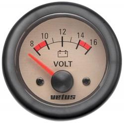 Voltmeter 12V (10-16V) D52mm beige