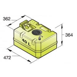 Drinkwatertank, 40L incl aansl en insp deksel