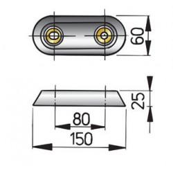 Huid anode type 15 zink excl. Aansluitset