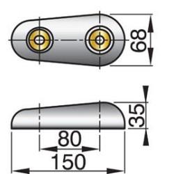 Huid-anode type 15SC zink excl. Aansluitset