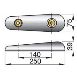 Huid-anode type 25SC zink excl. Aansluitset