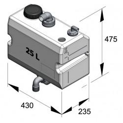 Vuilwatertank 25ltr voor wandbevestiging horizont.