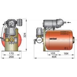 Hydrophoor 12V 8ltr tank incl drukregelaar