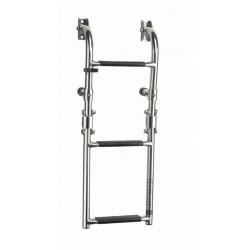 Ladder folding 3 trede, SS316, synthetische zwarte grip