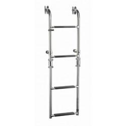 Ladder folding 4 trede, SS316, synthetische zwarte grip