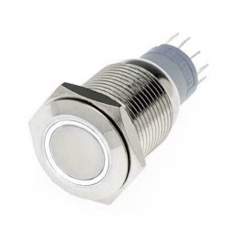 Hollex Drukknop rvs 12V puls LED wit