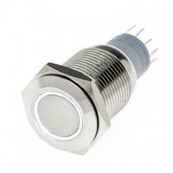 Hollex Drukknop rvs 12V aan-uit LED wit