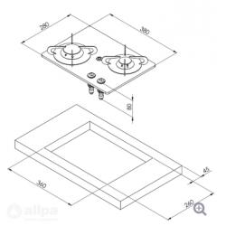 allpa Gaskomfoor met thermische glasplaat 380x280x80mm, branders: 1x klein - 1x medium