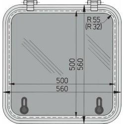Libero vluchtluik 500x500mm (R=32mm) new lock