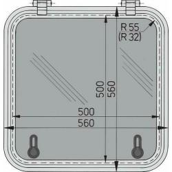 Libero vluchtluik 500x500mm (R=55mm) new lock