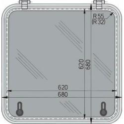 Libero vluchtluik 620x620mm (R=32mm) new lock