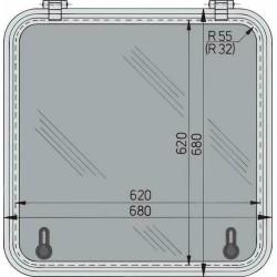 Libero vluchtluik 620x620mm (R=55mm) new lock