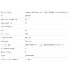 Hollex Drukknop rvs 24V aan-uit LED wit