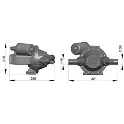 Faecalien- lenspomp 12V- duckbill- roteerbaar