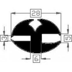 Raamrubber EPDM zwart 3-5 br. 28 mm