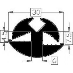 Raamrubber EPDM zwart 7,5 -4,5 br. 30 mm