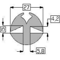 Raamrubber EPDM grijs 4-5 br. 27 mm
