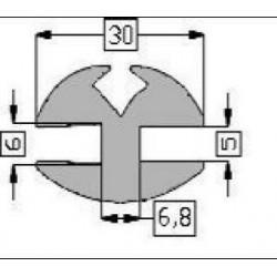 Raamrubber EPDM grijs 5-6 br. 30 mm